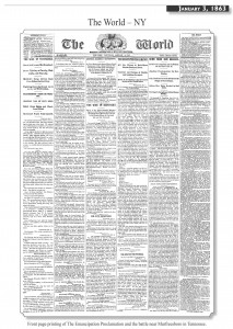 Front Page Printing of The Emancipation Proclamation